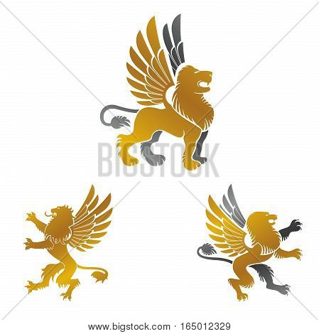 Winged Lion ancient emblems elements set. Heraldic vector design elements collection. Retro style label heraldry logo.