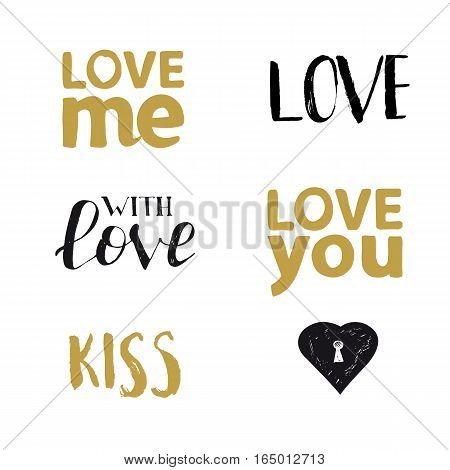 Romantic Valentines day typography set. Calligraphy postcard or poster graphic design lettering element. Hand written valentines day romantic postcard. Love you. Love me. Vector illustration