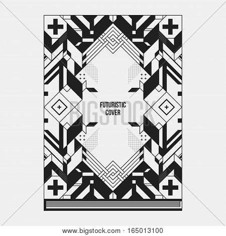 Book/poster/magazine Cover Design Template With Abstract Symmetric Elements. Style Of Modern Art And