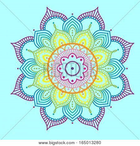 Simple rainbow abstract mandala on blue background, ethno motive, vector illustration, eps 10
