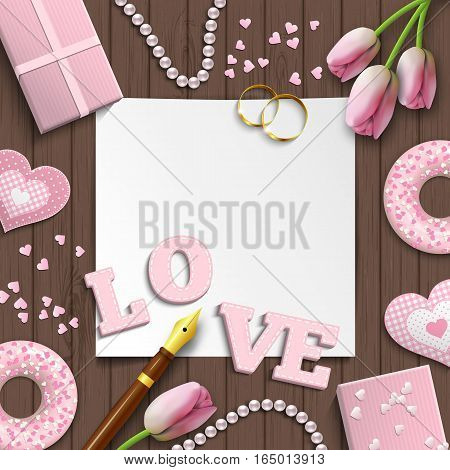 Romantic background with pink letters LOVE and other objects on brown wooden pattern, inspired by flat lay style, vector illustration, eps 10 with transparency and gradient meshes