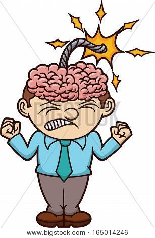 Furious Man with Brain Bomb on His Head Cartoon Illustration Isolated on White