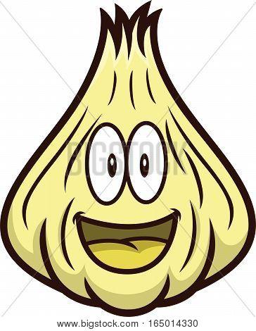 Garlic Cartoon Character. Vector Illustration Isolated on White.