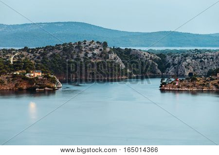st. Ante sea channel view from Sibenik town.