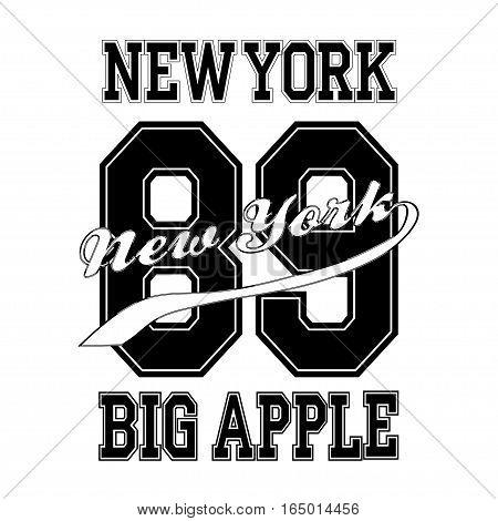 Fashion Typography Graphics. New York Sport Bg Apple T-shirt Design, vector
