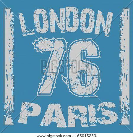 London Paris typography, t-shirt graphics. Vector illustration