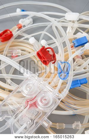 Bloodline tubes of hemodialysis machine. Health care blood purification kidney failure transplantation medical equipment concept.