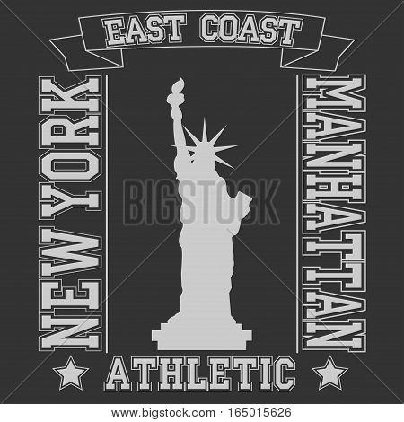 New york East Coast typography Manhattan, t-shirt graphics. Vector illustration