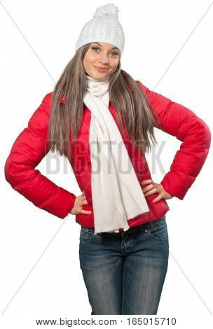 Woman in Winter Clothing with Hands on Hips - Isolated