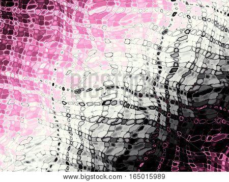 Digital art abstract pattern. Pink wavy geometrical image