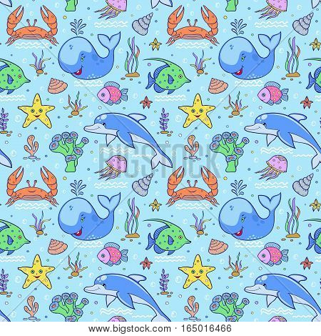 Illustration of sea seamless pattern.Colorful underwater world