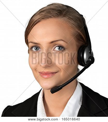 Portrait of a Female Phone Operator in Headset