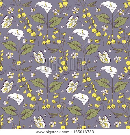 Illustration of seamless pattern with calla flowers.Floral background