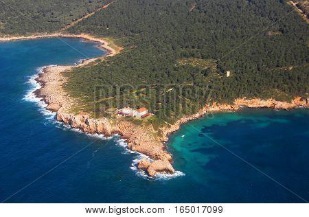 Aerial view of Sardinia coast near Alghero, Italy