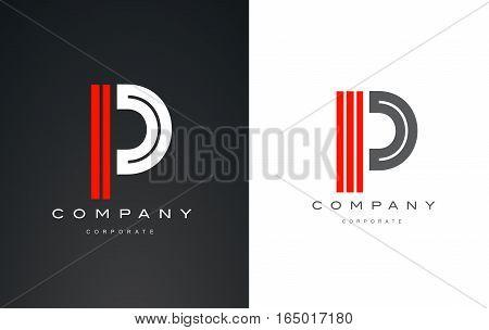 Alphabet letter P red white vector logo icon sign design template