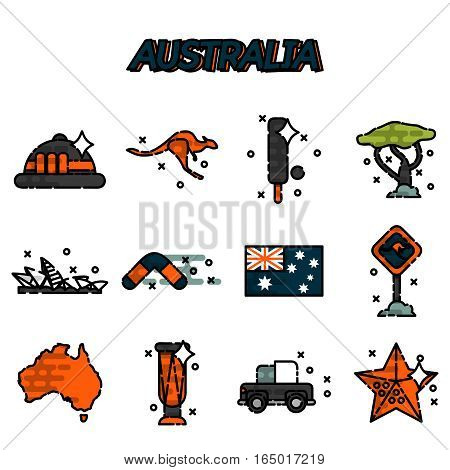 Australia flat icons set. Vector illustration, EPS 10