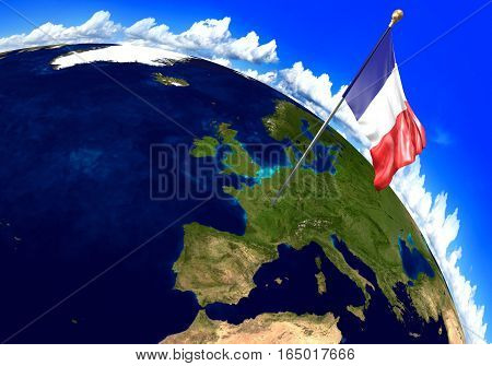 France national flag marking the country location on world map. 3D rendering, parts of this image furnished by NASA