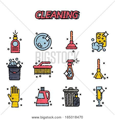 Cleaning colorful flat style icons set. Template elements for web and mobile applications