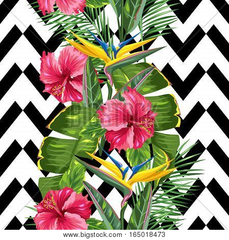 Seamless pattern with tropical leaves and flowers. Palms branches, bird of paradise flower, hibiscus.