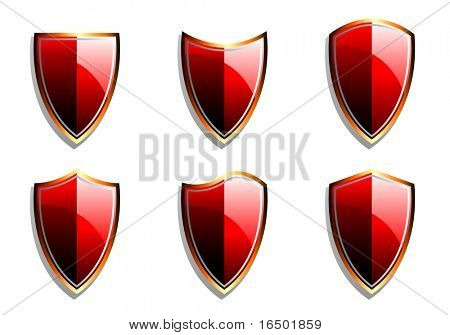 Set of Red Vector Armor Shields