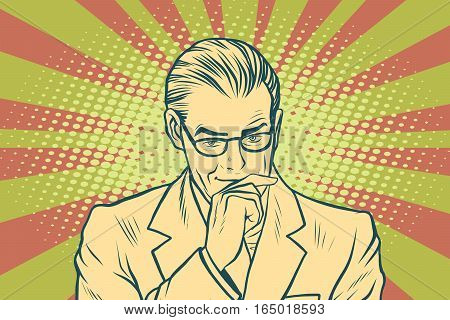 Thinking businessman. Pop art retro vector illustration. Business people