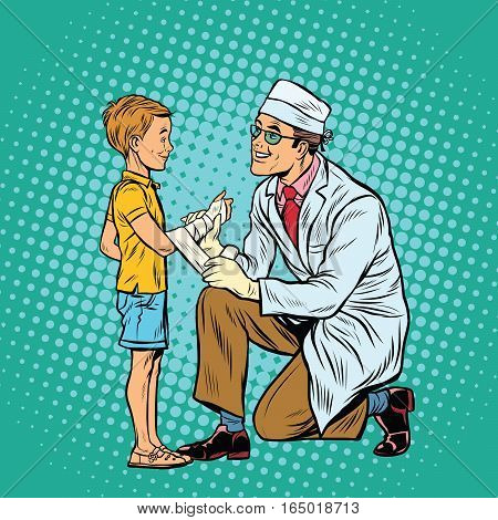 Retro doctor bandaging boy injured arm. Pop art retro vector illustration