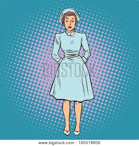 dissatisfied angry nurse. Pop art retro vector illustration. Medicine and health