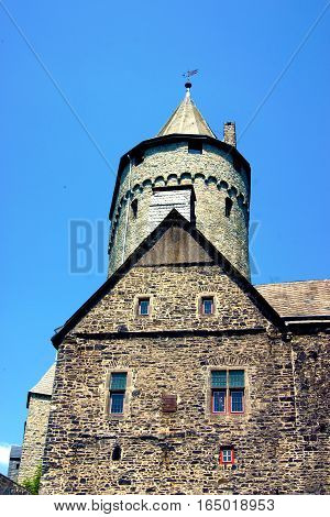 A fragment with tower at the castle Altena (North Rhine-Westphalia, Germany)