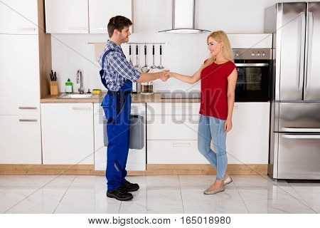Young Male Repairman Shaking Hands With Young Happy Woman In Kitchen