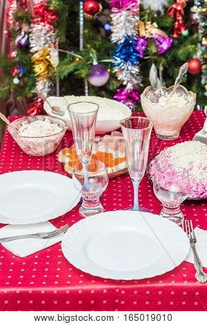 Table Covered Tablecloth Background Dressed Up Christmas Tree