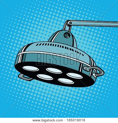 surgical lamp in operation room. Pop art retro vector illustration