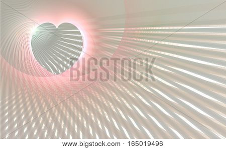 Fractal retro heart made from color pink grey and white stripes