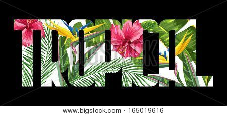 Print with tropical leaves and flowers. Palms branches, bird of paradise flower, hibiscus.