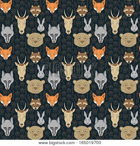 Seamless pattern with animals and traces. Can be used for graphic design, textile design or web design.