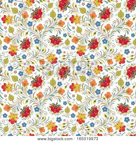 Illustration of seamless pattern with traditional russian floral ornament.Khokhloma.