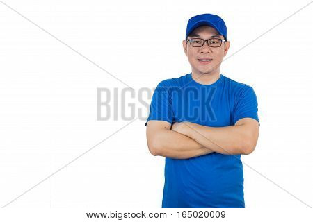 Asian Chinese Man Wearing Blue Shirt With Crossed Arm