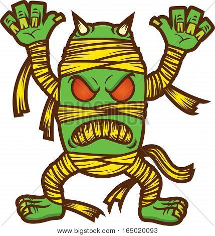 Monster Mummy Zombie Cartoon Illustration Isolated on White