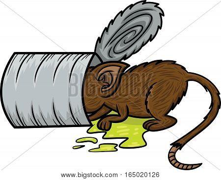 Mouse Looking for Food Inside the Tin Can Cartoon