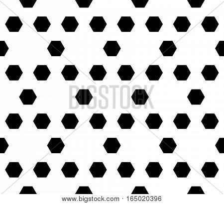 Vector monochrome seamless pattern. Simple dark modern geometric texture with hexagons. Illustration of hexagonal grid. Repeating black & white abstract background. Design for prints, decoration, textile, fabric, furniture