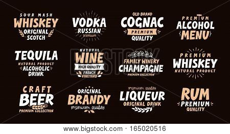 Collection labels for menu design restaurant or bar
