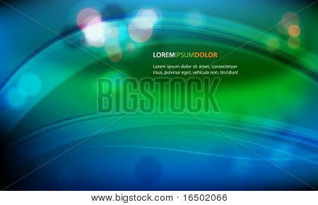 Abstract Vector Background - Transparent Lights on Green and Blue Waves