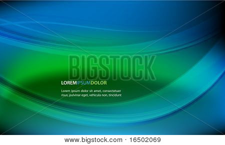 Abstract Vector Background - Green and Blue Waves