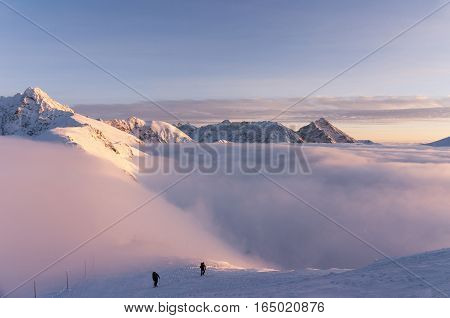 Winter inversion in the Tatra Mountains during sunset