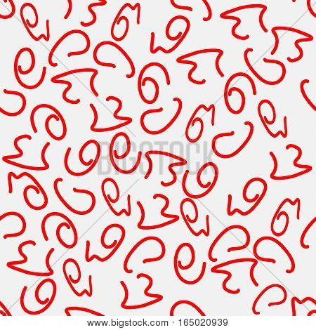 Seamless vector pattern, red squiggles, abstract background