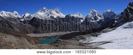 View from Renjo La mountain pass. Gokyo lake and Ngozumpa glacier. Mount Everest Lhotse Cholatse and other high mountains of the Himalayas.