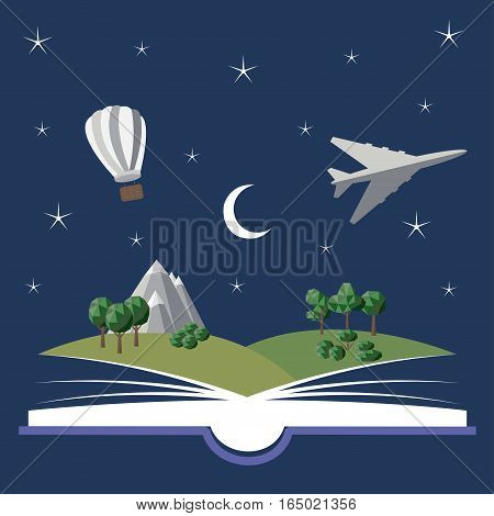 Reading book, imagination concept with stars, moon, mountain landscape, trees, hot air balloon - vector