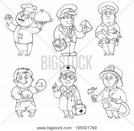 Professions.Cook, postman, policeman, boxer, doctor, fireman. Coloring book. Vector illustration. Isolated on white background
