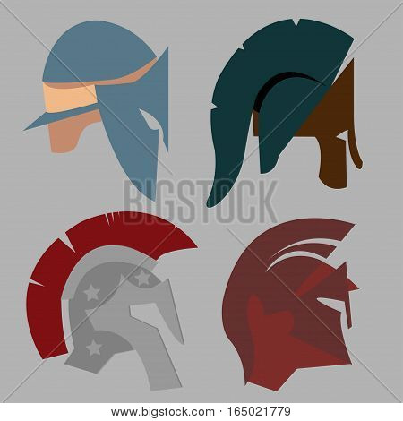 Set Spartan Helmet, Greek warrior, Gladiator - legionnaire heroic soldier - vector