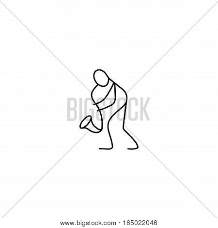 Stick figure man playing saxophone vector. Musician and saxophone