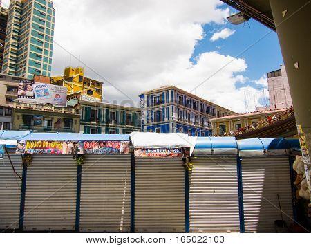 Closed stalls in La Paz Bolivia on a sunny day